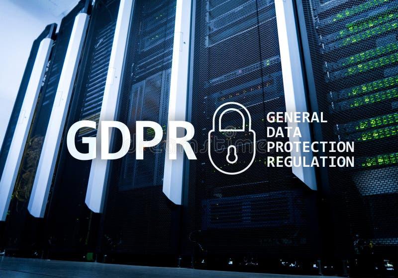 GDPR, conformidade geral do regulamento da proteção de dados Fundo da sala do servidor imagens de stock