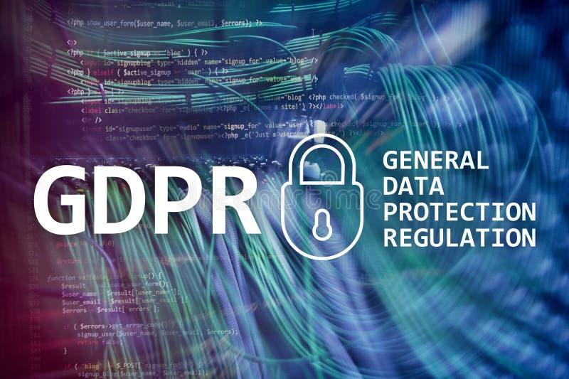 GDPR, conformidade geral do regulamento da proteção de dados Fundo da sala do servidor ilustração stock