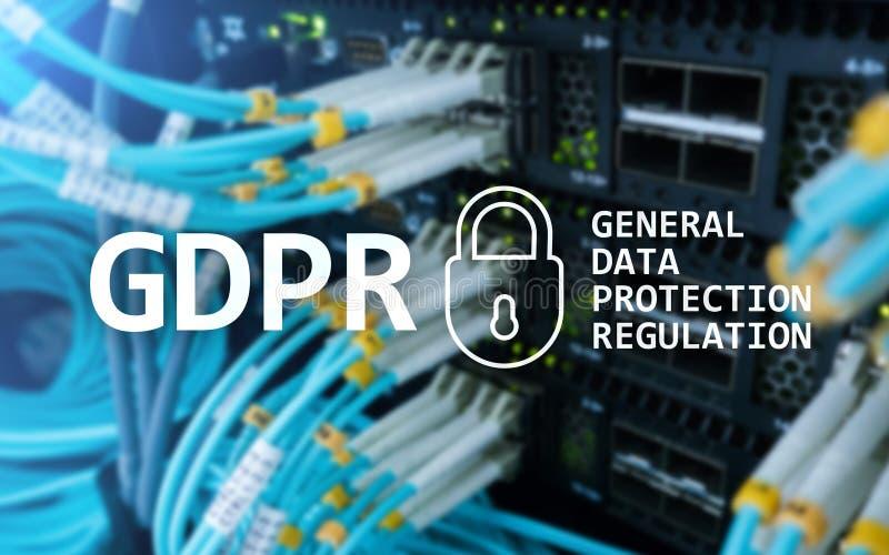 GDPR, conformità generale di regolamento di protezione dei dati Fondo della stanza del server fotografie stock