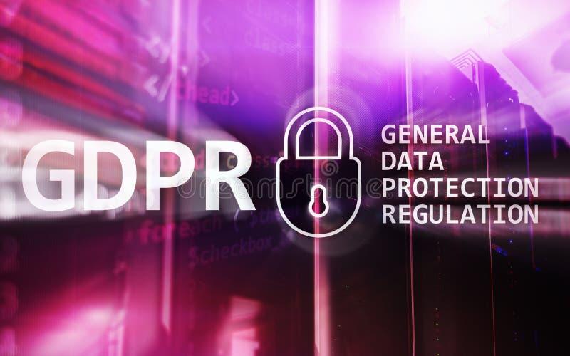GDPR, conformità generale di regolamento di protezione dei dati Fondo della stanza del server fotografia stock libera da diritti