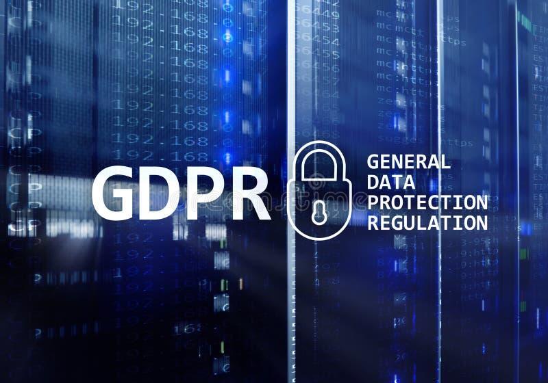 GDPR, conformità generale di regolamento di protezione dei dati Fondo della stanza del server immagini stock libere da diritti