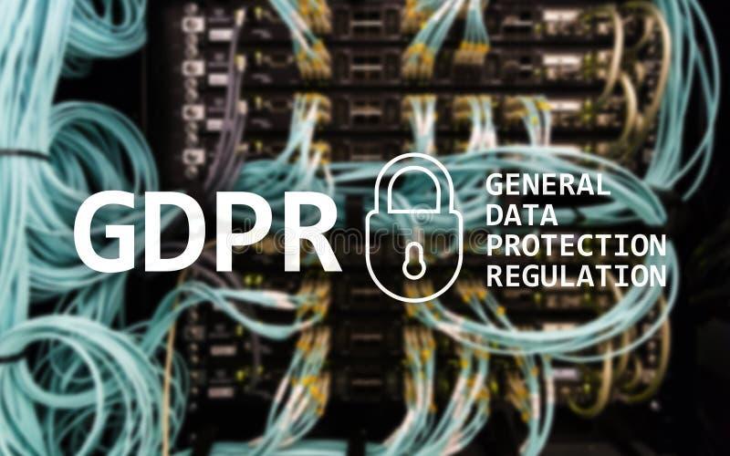 GDPR, conformità generale di regolamento di protezione dei dati Fondo della stanza del server immagine stock libera da diritti