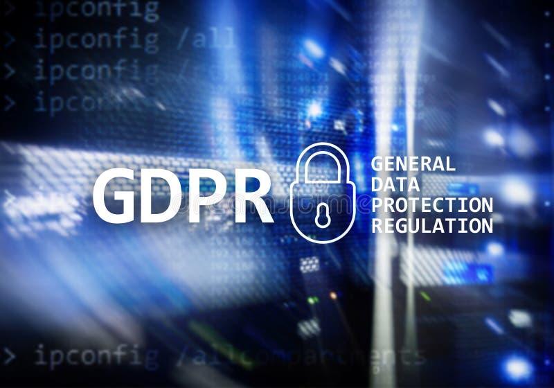 GDPR, conformità generale di regolamento di protezione dei dati Fondo della stanza del server immagini stock