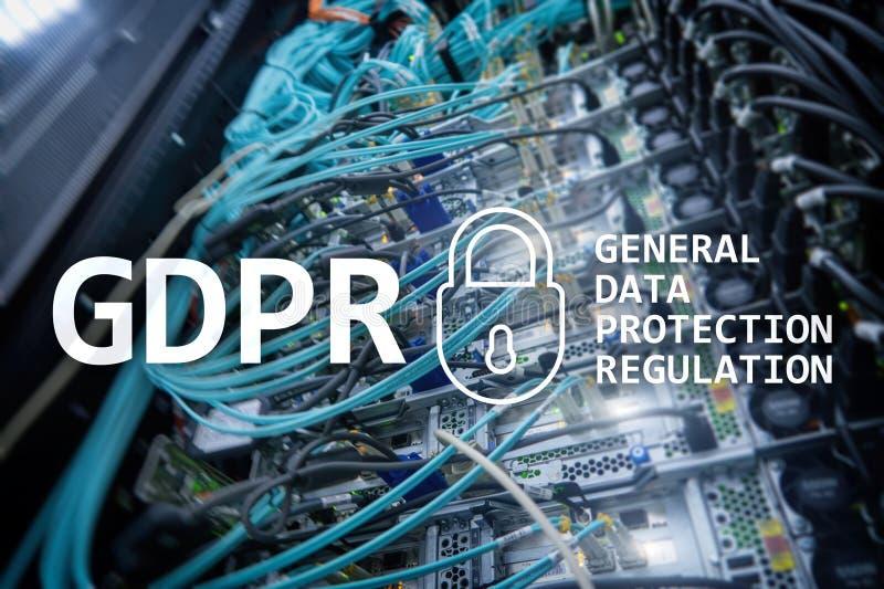 GDPR, conformità generale di regolamento di protezione dei dati Fondo della stanza del server fotografia stock