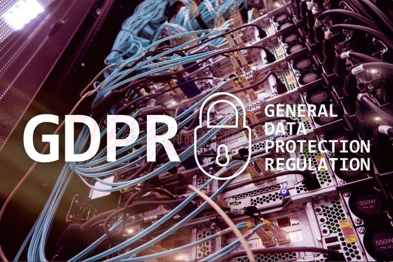 GDPR, conformité générale de règlement de protection des données Fond de pièce de serveur images libres de droits
