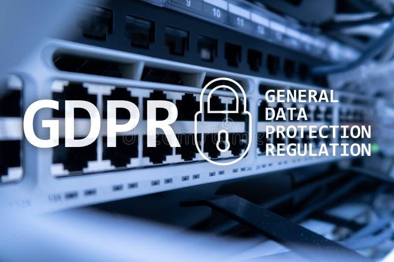 GDPR, conformité générale de règlement de protection des données Fond de pièce de serveur images stock