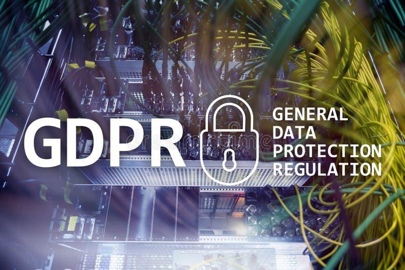 GDPR, conformité générale de règlement de protection des données Fond de pièce de serveur photographie stock libre de droits