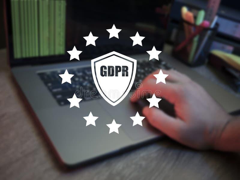 GDPR Dane ochrony IT technologa dane systemu bezpieczeństwa Przepisowa osłona ProtectionGDPR Dane ochrony przepis Cyber sec obraz stock