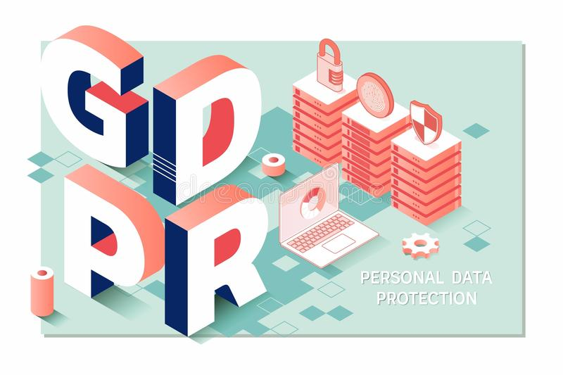GDPR, General data protection regulation compliance.Isometric personal data protection web banner concept vector illustration