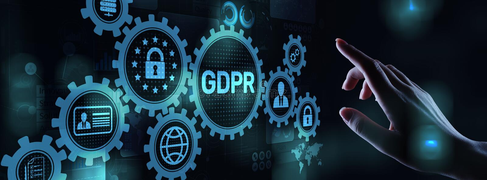 GDPR Data Protection Regulation European Law Cyber security compliance. stock photos