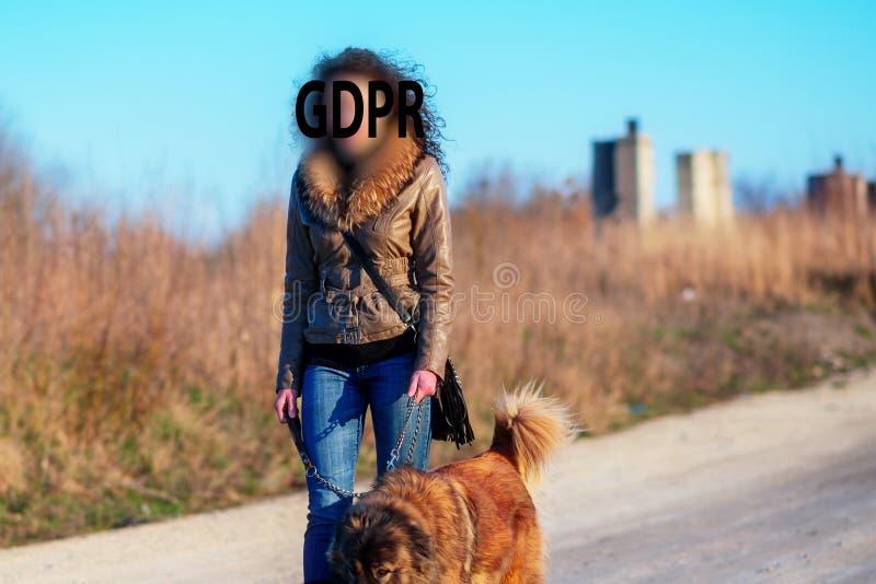 Gdpr, dziewczyna iść dla spaceru z Kaukaskim pasterskim psem w jesieni wsi fotografia royalty free