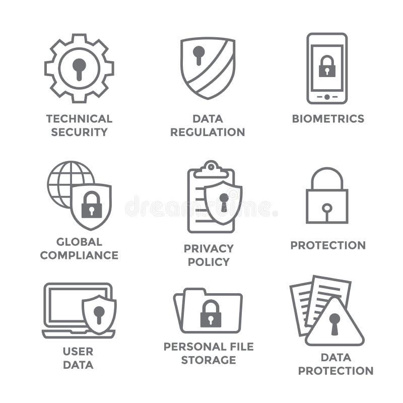 GDPR e icono de la política de privacidad fijado con las cerraduras, los candados y el escudo libre illustration