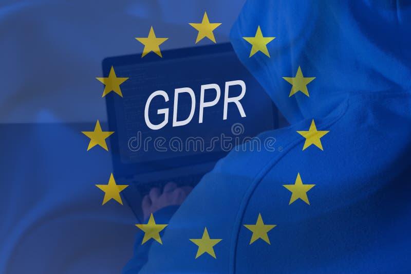 GDPR En hacker som arbetar med bärbara datorn Reglering för skydd för allmänna data royaltyfri fotografi