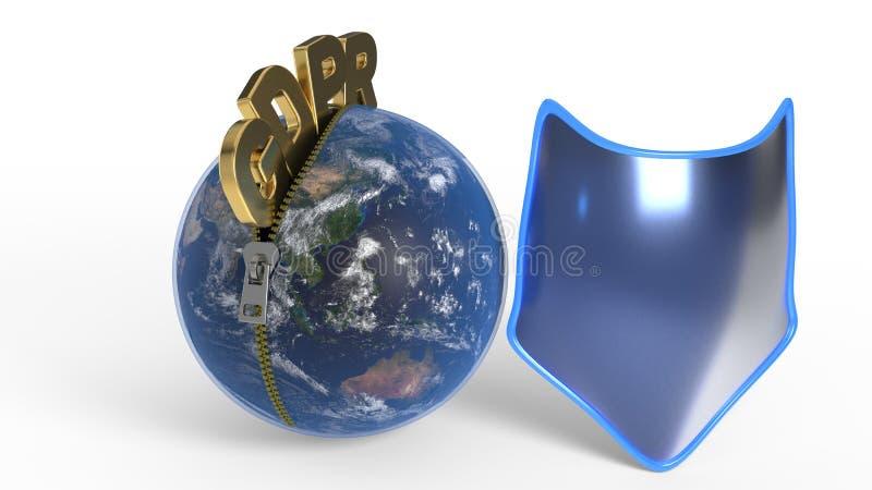 GDPR está deixando o zíper através do mundo, rendição 3d ilustração do vetor
