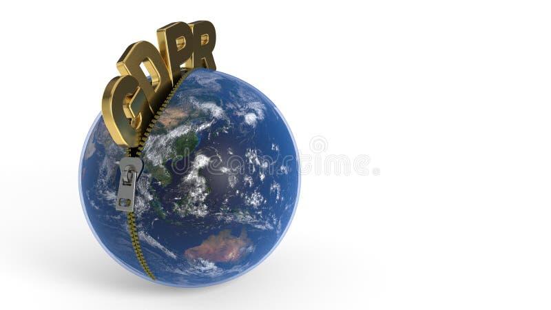 GDPR está deixando o zíper através do mundo, rendição 3d ilustração stock