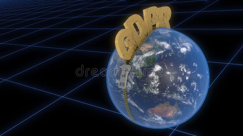 GDPR está deixando o zíper através do mundo, rendição 3d ilustração royalty free