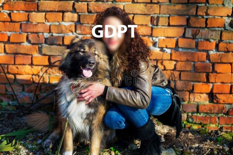 Gdpr, femme, moitié-assise, étreint un chien de berger caucasien à l'automne sur le fond des briques oranges image stock