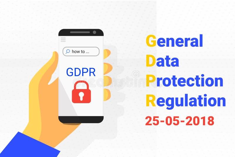 GDPR - Fundo geral da tecnologia de segurança da proteção de dados Telefone à disposicão Vetor ilustração do vetor