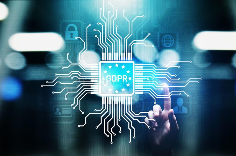 GDPR-Gegevensbeschermingverordening Europese de veiligheidsnaleving van Wetscyber stock afbeeldingen