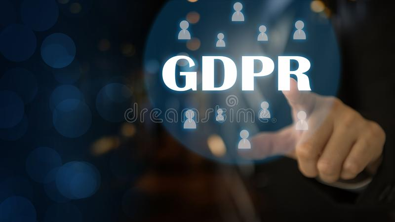 GDPR General Data Protection. Regulation for European Union concept, Businessman or IT technologist with text GDPR and icons of people. Security of personal stock image