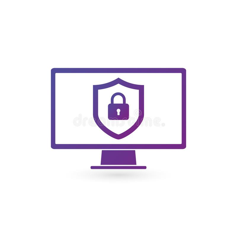 GDPR General Data Protection Regulation, big lock and shield on computer display. vector illustration isolated on white background.  stock illustration