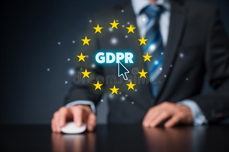 GDPR concept. GDPR general data protection regulation concept. Businessman or IT technologist with text GDPR and EU stars stock images