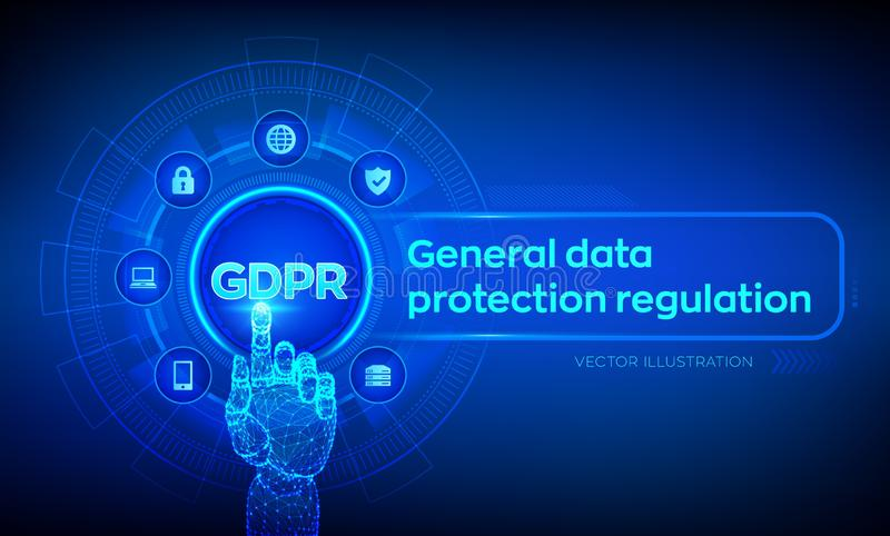 GDPR. General Data Protection Regulation. Cyber security and privacy concept on virtual screen. Protection of personal information stock illustration