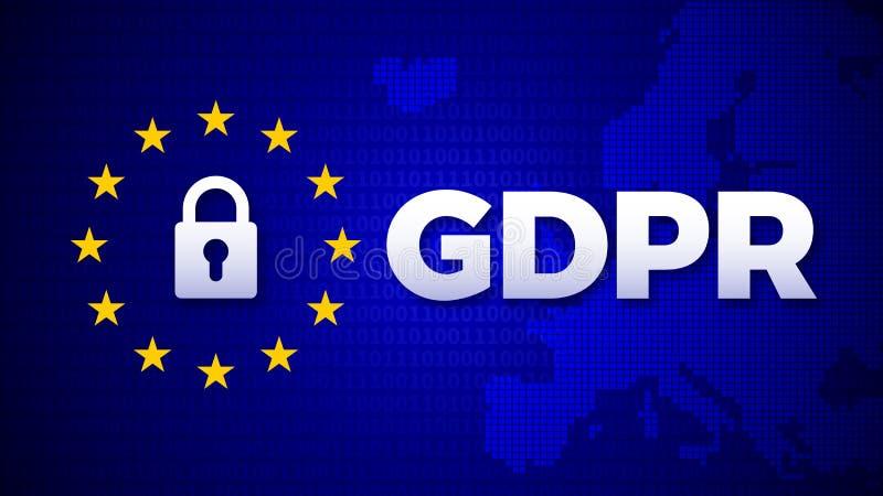 GDPR, General Data Protection Regulation, data protection EU law regulation. Vector illustration royalty free illustration