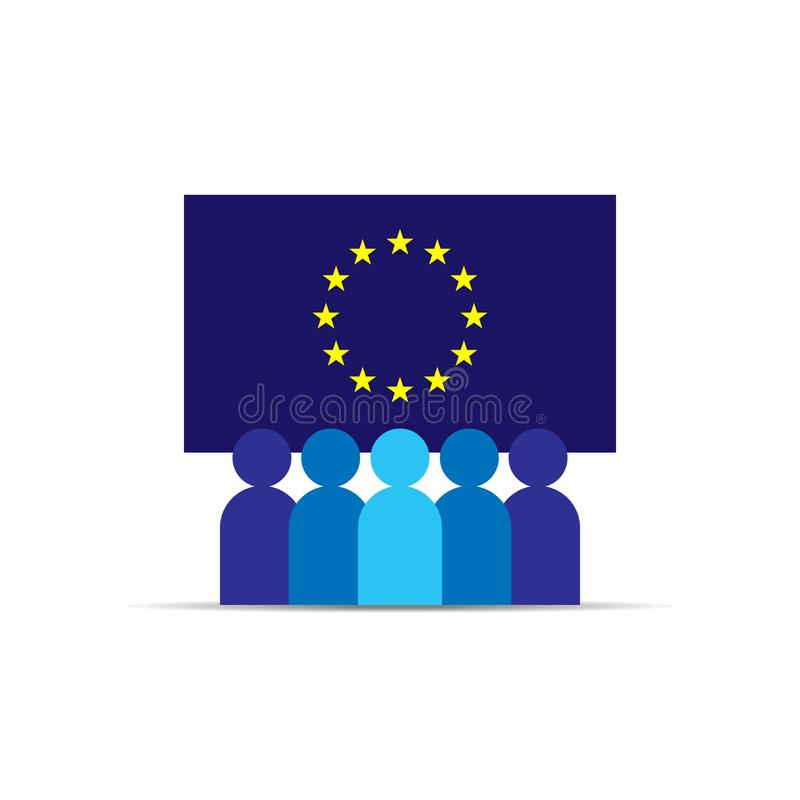 GDPR. General Data Protection Regulation. EU map and flag. People Icon. Business team work. Social network. Crowd sign. Leadership stock illustration