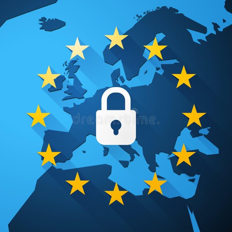 GDPR, General Data Protection Regulation, euro map, vector royalty free illustration
