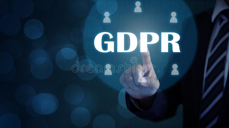 GDPR General Data Protection. Regulation for European Union concept, Businessman or IT technologist with text GDPR and icons of people. Security of personal royalty free stock photo