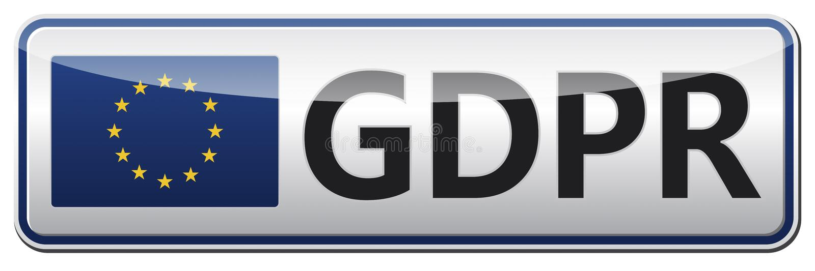 GDPR - General Data Protection Regulation. Glossy banner with EU royalty free stock image