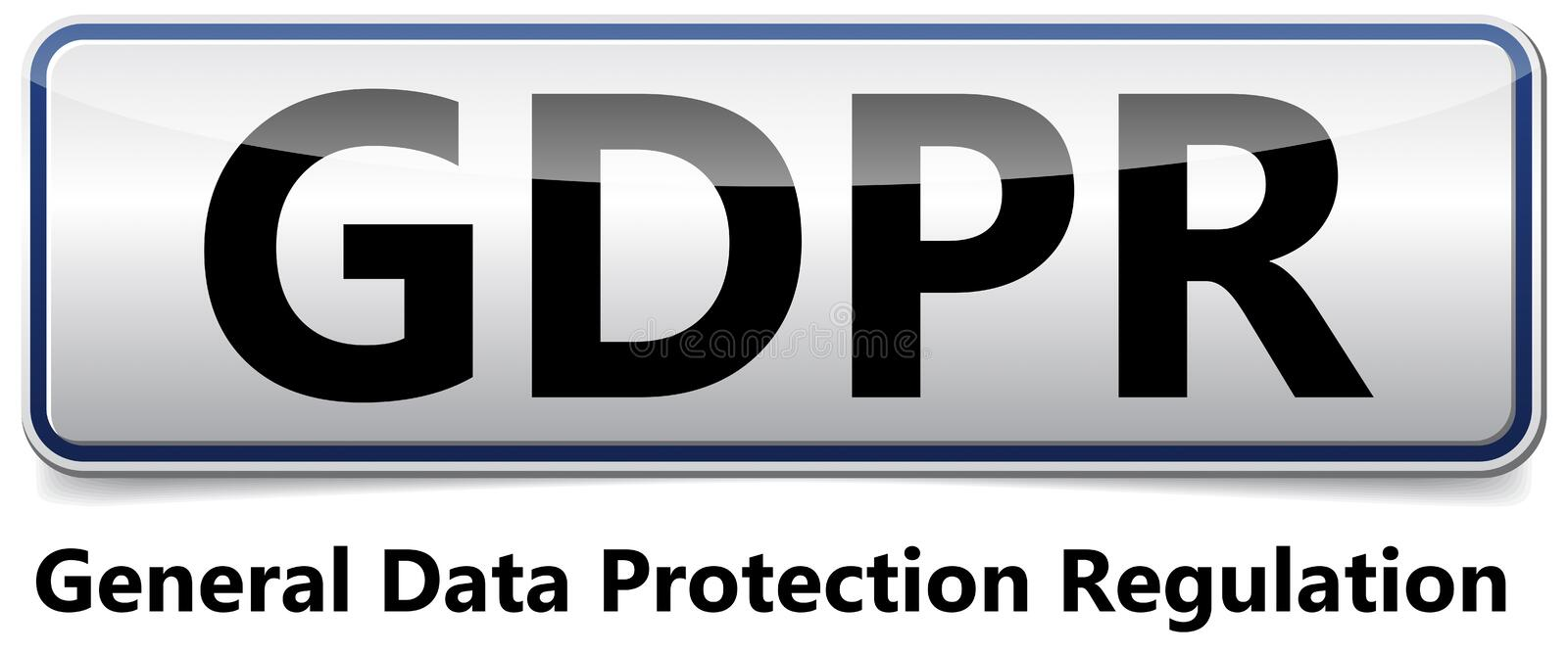 GDPR - General Data Protection Regulation. Glossy banner with sh stock illustration