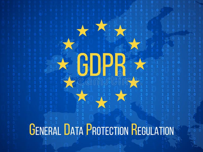 Gdpr general data protection regulation. Internet business safety vector background. Illustration of gdpr banner, protection and security royalty free illustration
