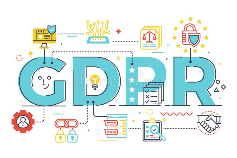 GDPR General Data Protection Regulation. Word lettering illustration with icons for web banner, landing page, essay, etc vector illustration