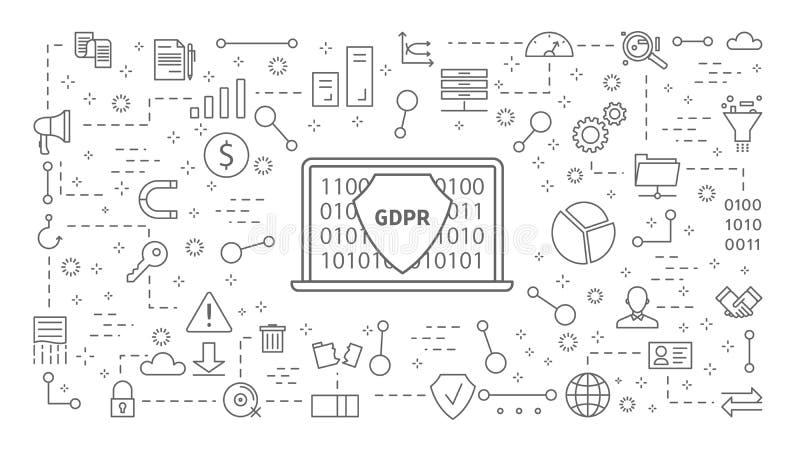 GDPR-geplaatste pictogrammen royalty-vrije illustratie