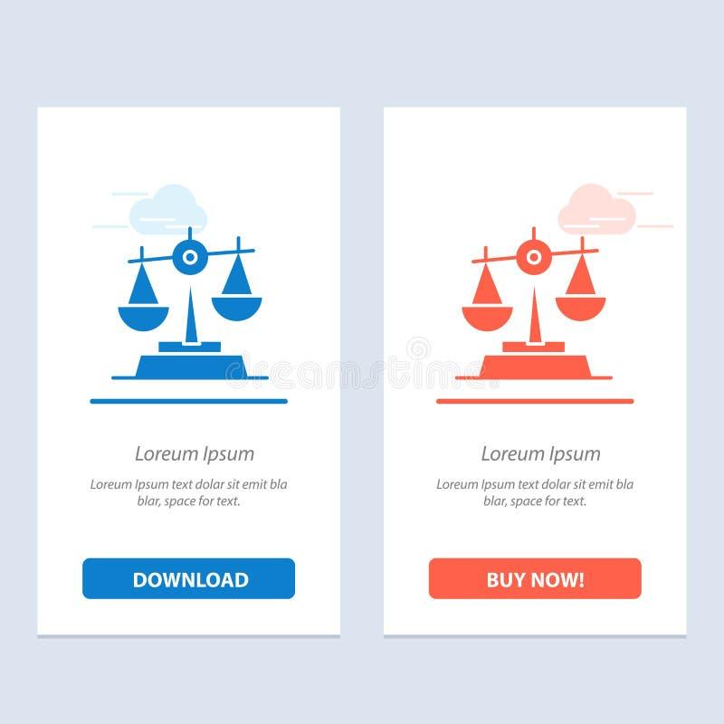 Gdpr, Gerechtigkeit, Gesetz, Balancen-Blau und rotes Download und Netz Widget-Karten-Schablone jetzt kaufen stock abbildung