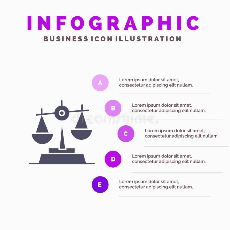 Gdpr, Gerechtigkeit, Gesetz, Schritt-Darstellungs-Hintergrund Balancen-fester Ikone Infographics 5 stock abbildung