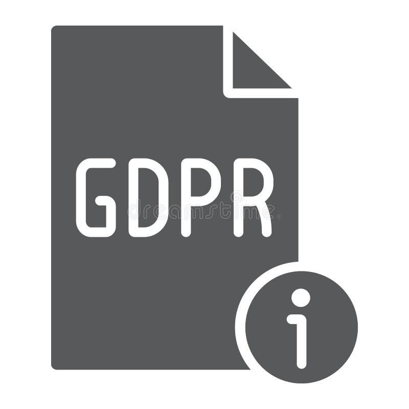 Gdpr glifu ewidencyjna ikona, ogłoszenie towarzyskie i prywatność, informacja znak, wektorowe grafika, bryła wzór na białym royalty ilustracja