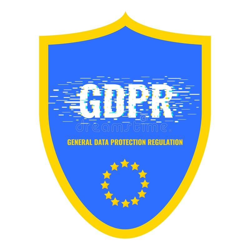 GDPR glitch shield poster royalty free illustration