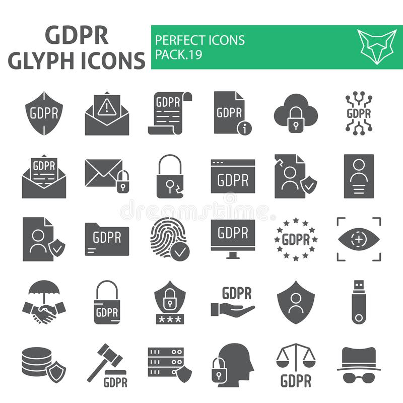 Gdpr glyph icon set, general data protection regulation symbols collection, vector sketches, logo illustrations royalty free illustration