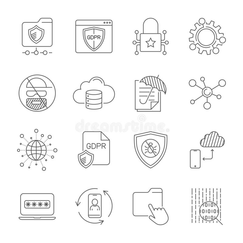GDPR i polityka prywatności, Cyfrowej ochrona, technologia zabezpieczeń, proste ikony ustawiać Editable uderzenie 10 eps royalty ilustracja