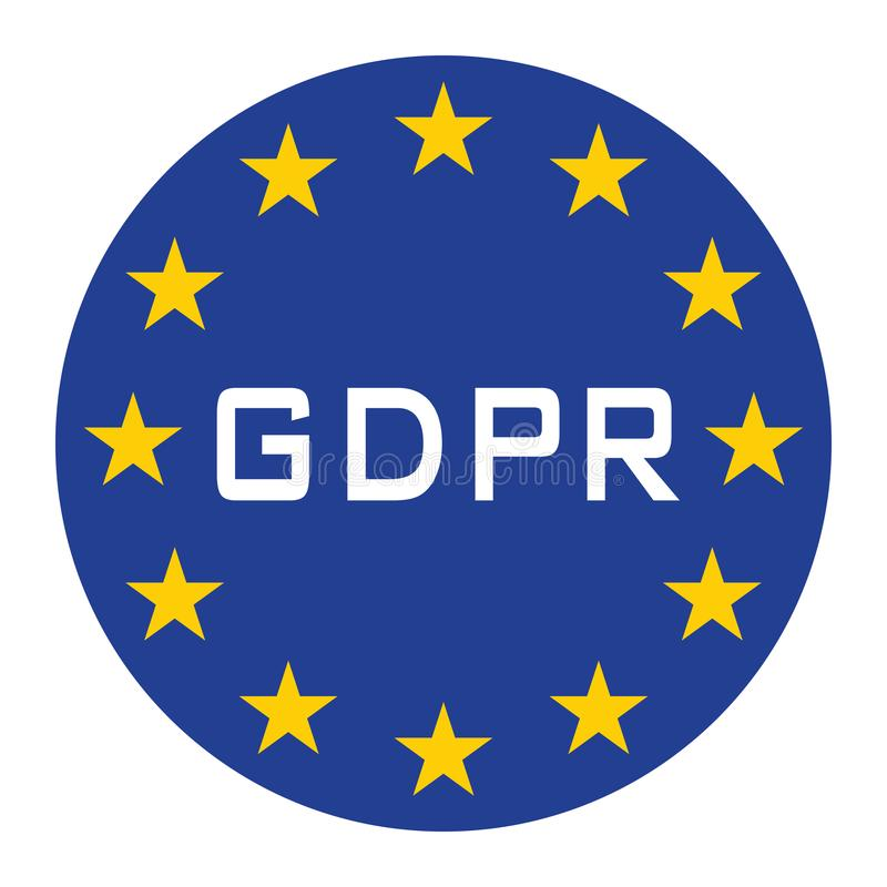 GDPR icon for web isolate blue white text. GDPR icon for web isolate with blue background and white text stock illustration