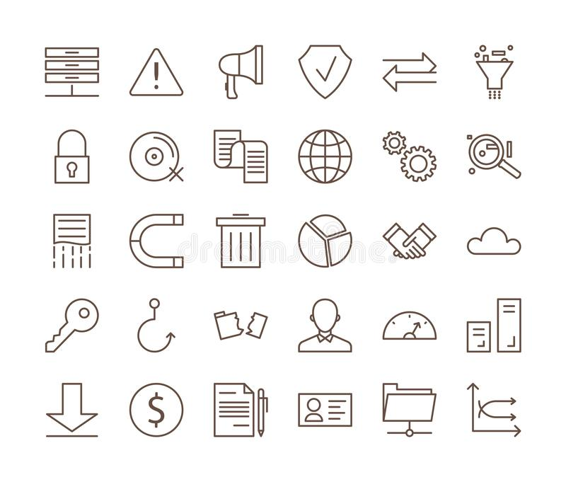 GDPR ikony ustawiać ilustracja wektor