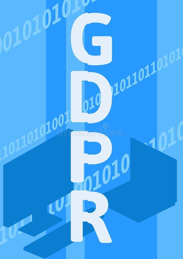 GDPR, illustration de concept Règlement général de protection des données Protection des données personnelles Affiche de vecteur illustration stock