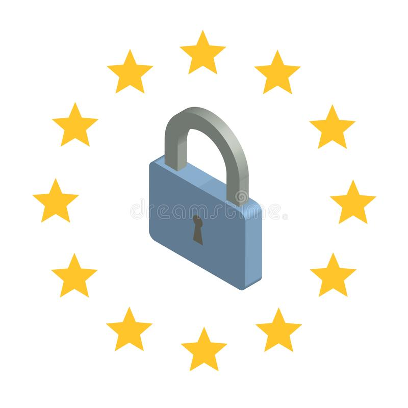 GDPR, illustration isométrique de concept Règlement général de protection des données Protection des données personnelles blanc d illustration libre de droits