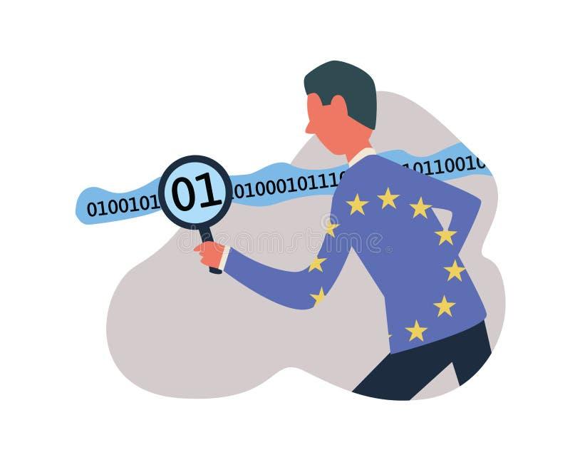 GDPR, ilustração do vetor do conceito Regulamento geral da proteção de dados DPO, oficial da proteção de dados que trabalha com ilustração royalty free
