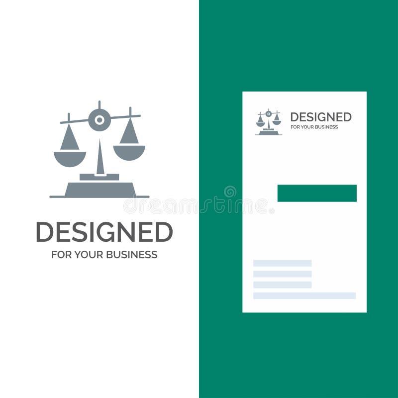 Gdpr, justicia, ley, balanza Grey Logo Design y plantilla de la tarjeta de visita libre illustration