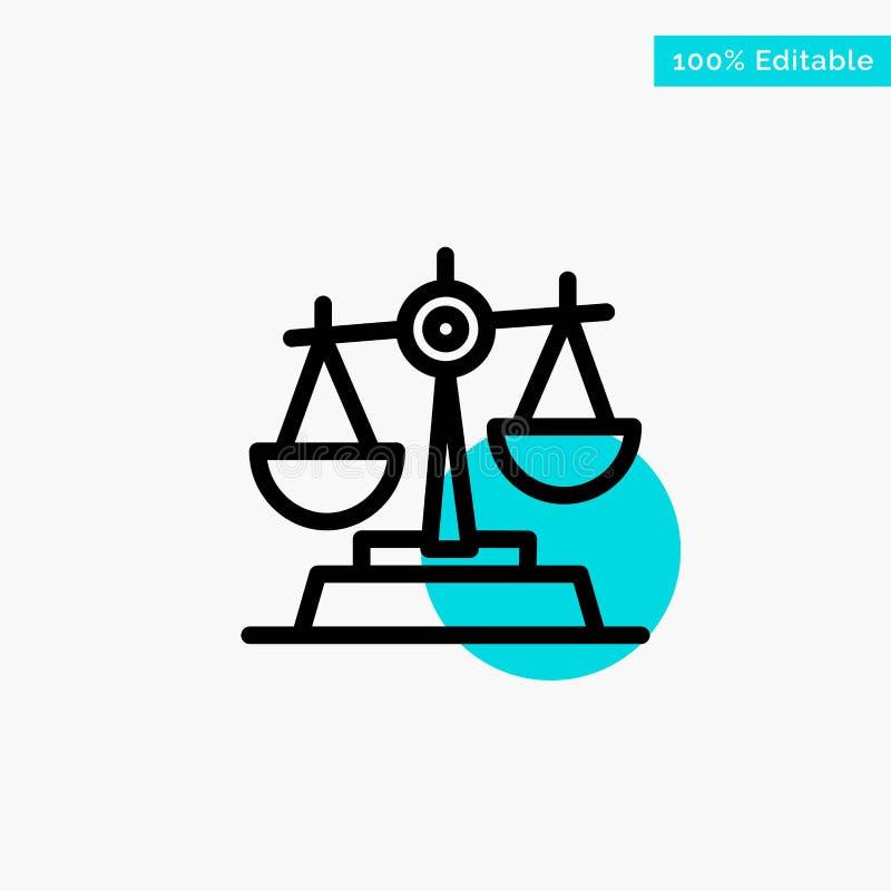 Gdpr, justicia, ley, icono del vector del punto del círculo del punto culminante de la turquesa de la balanza ilustración del vector