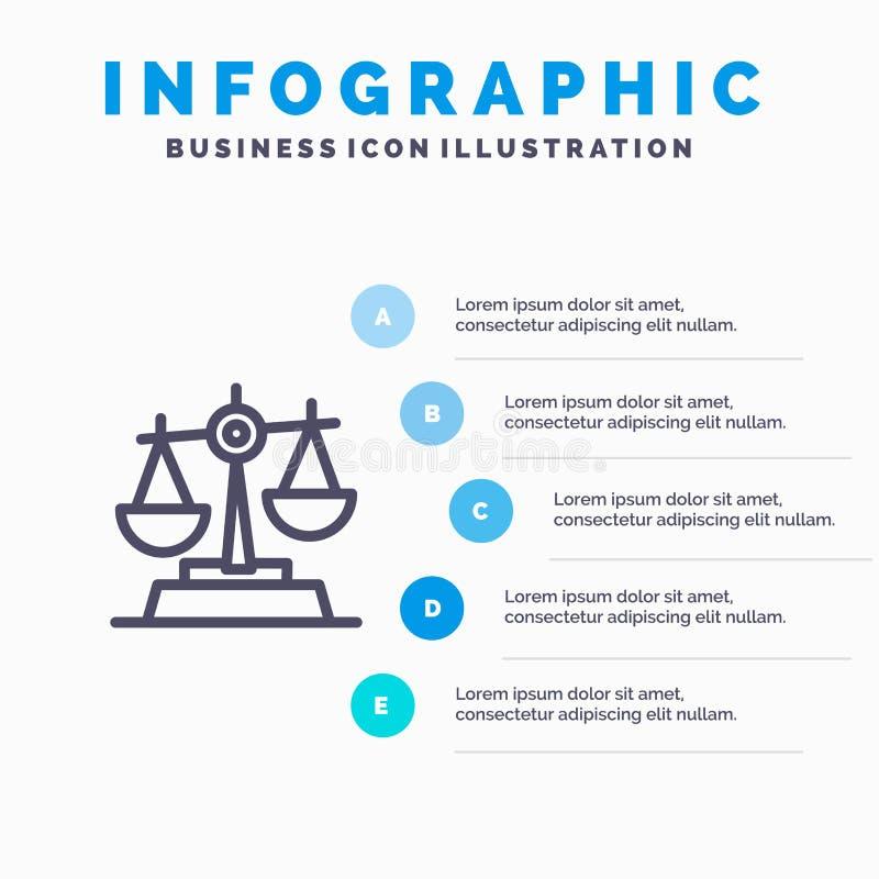 Gdpr, justicia, ley, línea de balanza icono con el fondo del infographics de la presentación de 5 pasos libre illustration